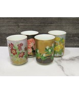 Set 4 Vintage Japanese Porcelain Sushi Tea Cups Floral Made In Japan - $43.56