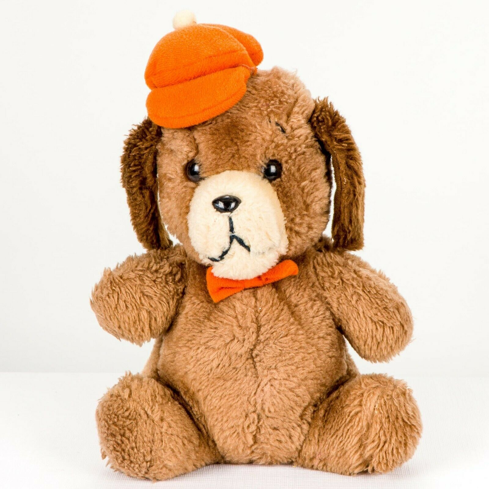 "Primary image for Dakin Puppy Dog Orange Hat Plush VTG 9"" 1980 Brown Nutshells Stuffed Animal Toy"