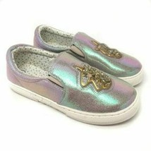 Cat & Jack Silver Iridescent Gold Unicorn Roana Girls Kids Slip-on Shoes NWT