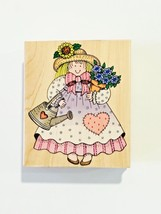 Hero Arts Rubber Stamp Garden Gal Flowers Watering Can Bonnet Heart - $3.95