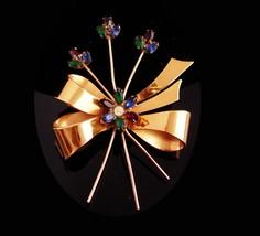 BIG Coro sterling Brooch - Vintage large flower Spray - rhinestone bow -... - $115.00