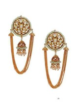 Lattest Kundan Earrings Bali Jhumka Jhumki Tops Jewelry Set White Beautiful j250 - $29.69