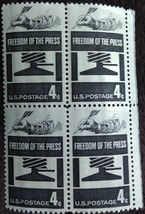 Four MNH 1958 U.S. Stamps Freedom of The Press - $1.49