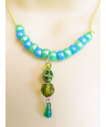 skeleton skull green beaded drop necklace cord goth punk womens teen jew... - $2.99