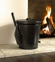 Fireplace Ashes Bucket with Shovel Lid Past Fires Holder Cleanup Steel B... - $49.80