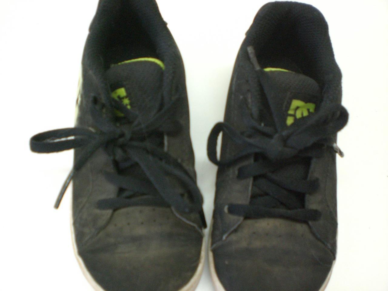 Boys DC SHOES Black/Lime Green Logo SKATE SHOES Lace Up sz 10 Kids
