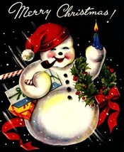 Jolly Snowman Vintage Christmas Image Digital Art - $6.50