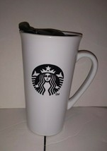 Starbucks Coffee Mug 2013 16oz White Ceramic Black Logo Lid - $12.86
