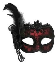 Red/Side Feather Mask On Headband,Masquerade Eye Mask, Masked Ball, Fanc... - ₹1,075.24 INR