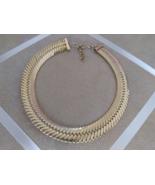 Vintage Gold Tone Braid Chain Thick Fashion Choker Necklace - $30.00