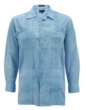 Men's Guayabera Long Sleeve Button Up Beach Embroidered Light Blue Dress Shirt