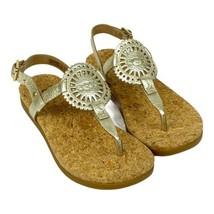 UGG Womens Ayden II Flat Sandals Size 5.5 M Womens Gold Metallic T-Strap... - $48.51