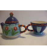 Shabby Chic Hand Painted Ceramic 16 Oz Teapot And 12 Oz Cup Blue And Ora... - $64.35