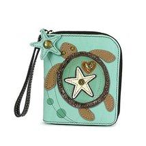 Chala Zip Around Wallet, Wristlet, 8 Credit Card Slots, Sturdy Pu Leather -Turtl
