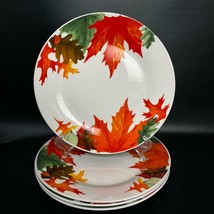 "Royal Norfolk~ 4 Colorful Fall / Autumn Leaves & Acorns ~ Dinner Plates 10.5"" - $39.59"