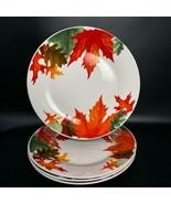 Royal Norfolk~ 4 Colorful Fall / Autumn Leaves & Acorns ~ Dinner Plates ... - $39.59