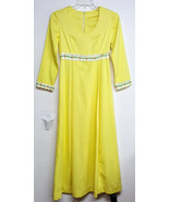 Vintage Maxi Dress Hand Made Mod Yellow Polyester Empire Waist Prom Size 12 - $35.00