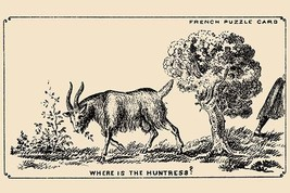 Where is the Huntress? by French Puzzle Card - Art Print - $19.99+