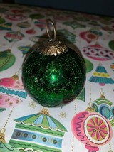 Gorgeous Heavy Green Mercury Crackle Glass Kugel  style Christmas Ball O... - $12.00