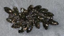 Vintage pin brooch smoky color rhinestone stunning pin with a swirl rhin... - $55.00