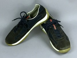 "PRADA Americas Cup Black Suede Navy 4E 2043 Auth Men""s Sneakers Shoes US... - $91.07"
