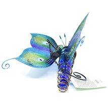 Painted Metal & Glass Solar Powered Light Garden Decoration Butterfly Decor image 4
