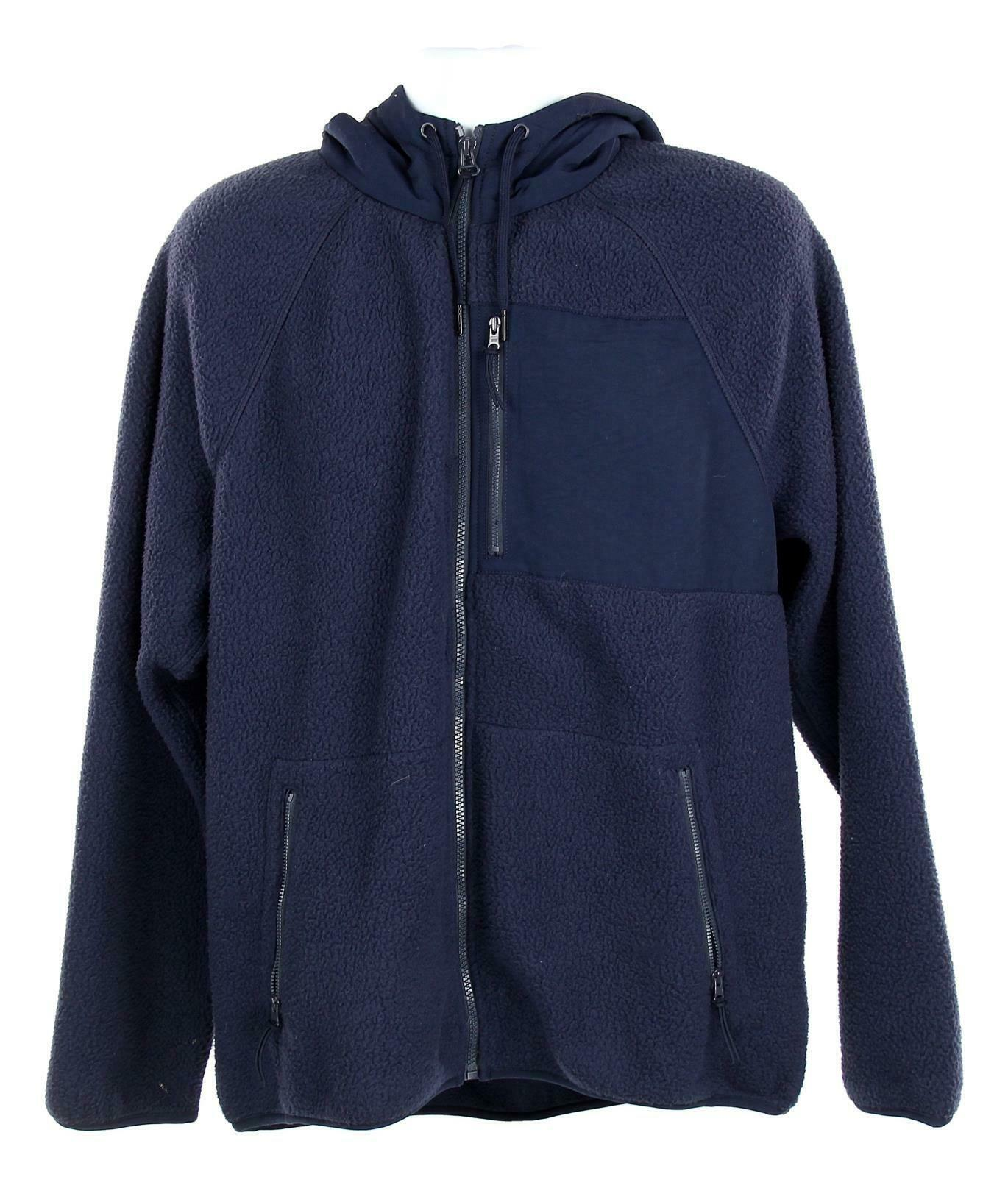 J Crew Mens Sherpa Zip Front Hooded Jacket Fleece Coat L Navy K4296
