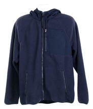 J Crew Mens Sherpa Zip Front Hooded Jacket Fleece Coat L Navy K4296 - $59.79