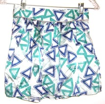 Sz S - Forever 21 Green & Blue Triangle Print Micro Mini Bubble Skirt - $18.99