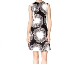 Kensie Women's Sleeveless Printed Fit & Flare Dress Black White XLarge - $89.19
