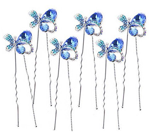 6 Pcs Headdress Hairpin Plate Hair Device U-shaped Clip Hairpin,Royal Blue