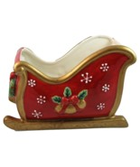Fitz & Floyd Festive Bells ceramic Christmas holiday sleigh planter cent... - $19.89