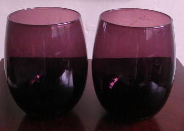 Vintage Hand blown Maroon Purple Color Round Shaped Collectible Glass Tumblers