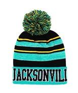 Jacksonville Men's Blended Stripe Winter Knit Pom Beanie Hat (Teal/Black) - $13.89