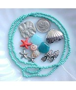 Beach Bead Mix Lot Blue Turquoise Spacers Starfish Vacation Jewelry Maki... - $7.00