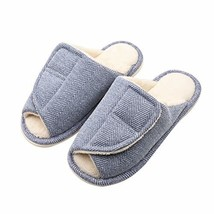 Women's Slip On Slide Slipper Extra Wide Adjustable Open Toe Plush Terry... - $28.71