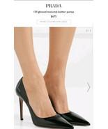 Prada Pointy Toe Black Patent Leather Classic Stiletto Pump Heels 37 US 7 - $558.36
