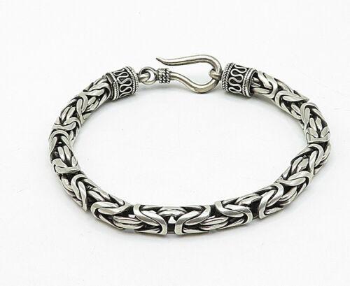 925 Sterling Silver - Vintage Byzantine Link Swirl Detail Chain Bracelet - B5410