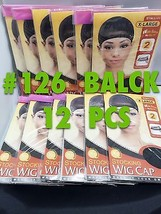 LOT OF 12 PACKS OF QFITT X LARGE STOCKING WIG CAP WIDE BAND BLACK WIG CAP #126