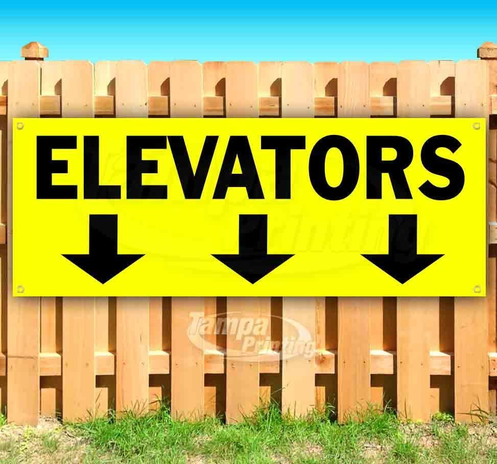 Primary image for ELEVATORS DOWN ARROWS YLW Advertising Vinyl Banner Flag Sign Many Sizes DIRECTS