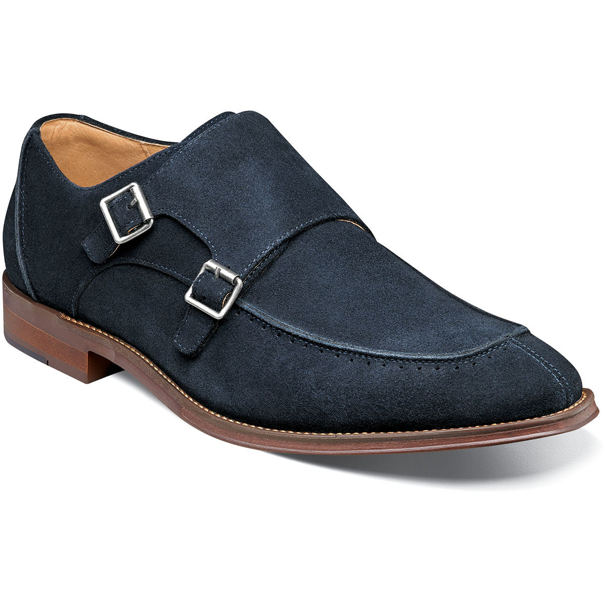 Handmade Men's Blue Suede Brown Sole Double Monk Strap Shoes