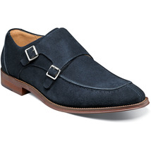 Handmade Men's Blue Suede Brown Sole Double Monk Strap Shoes image 1