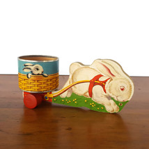 Vintage Fisher Price Easter Bunny White Rabbit Wood Pull Toy Cart #5 1948 - $123.70