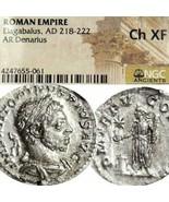 Héliogabale NGC Choix XF Rare Dure Pièce Ancien Romain Impérial Argent D... - $269.10