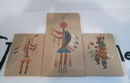 3 Sand Painting Navajo Yei Bei Chai Sunrise Dancer Camel God Vintage - $28.05