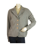 Ajay by Liu Jo Gray Button Closure Cotton Summer Cardigan jacket Elbow S... - $78.28