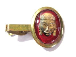 JAPANESE UNSIGNED SELRO BRASS ENCASED IN LUCITE DOME FIGURE TIE CLIP VIN... - $36.00