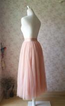 Blush Pink Long Tulle Skirt High Waisted Plus Size Long Tulle Tutu Blush Skirt image 5