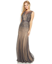 Adrianna Papell New Womens Gunmetal Sleeveless Beaded Illusion Gown    14  $299 - $178.20