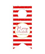 Red and White Stripes w/Gold Merry Christmas Personalized Water Bottle H... - $26.24